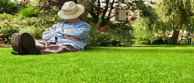 Link to page Artificial Grass and man sleeping