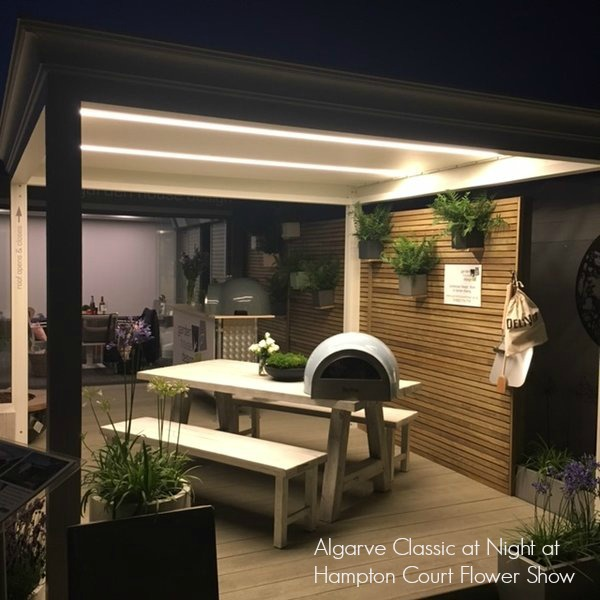 RENSON Algarve Canopy with LED lights in the rotating roof blades