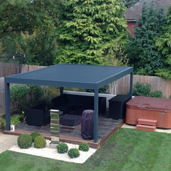 Renson Louvered Roof Canopy in Hot Tub Garden Design