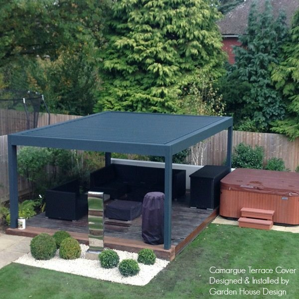 Renson Camargue Louvered Roof Canopy over Hot Tub