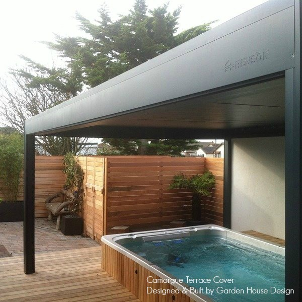Camargue Louvered Canopy over a swim spa