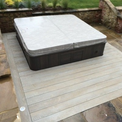 Millboard Composite Decks with half sunken spa hot tub
