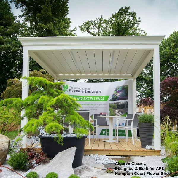 Algarve Terrace Cover on APL stand at Hampton Court Flower Show