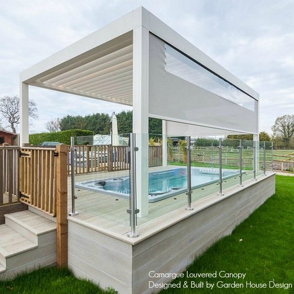 Renson Camargue installed over Hydropool Swim Spa