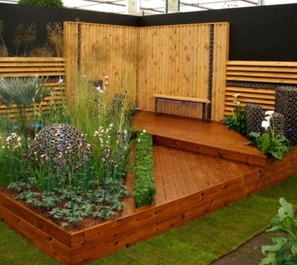 Our show garden from Chelsea Flower Show that includes decking and accessories