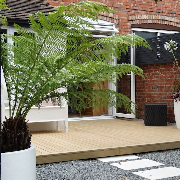 Decking and planters used in an urban garden environment
