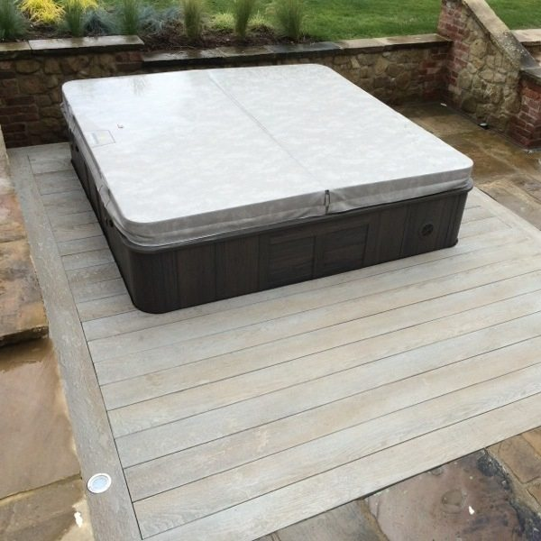 Millboard Enhanced Grain Smoked Composite Decking with sunken spa