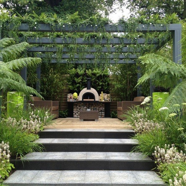 Show entry for Hampton Court Flower Show 2012 with living pergola and Jamie Oliver Oven