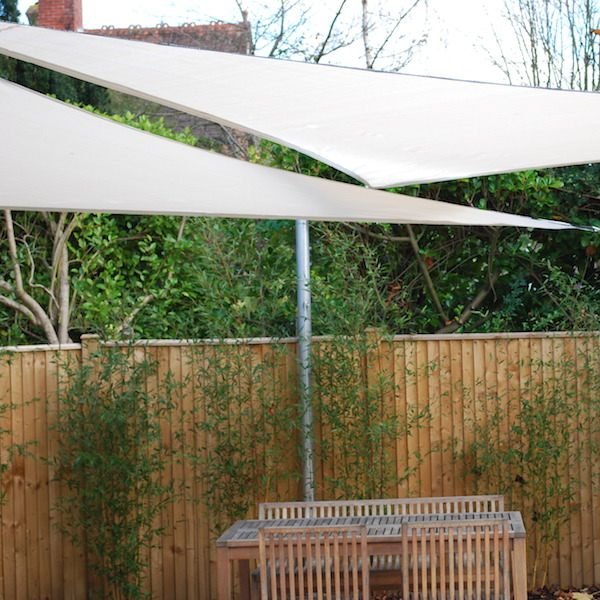 Sail Shades shading the back garden area with outdoor furniture