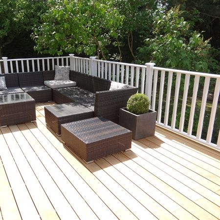 Large terraced deck with Geo Cube fibreglass planters