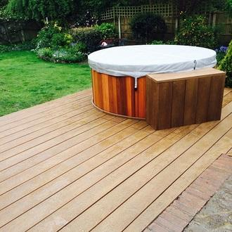 Enhanced grain coppered oak millboard composite decking for 6 inch wide decking boards