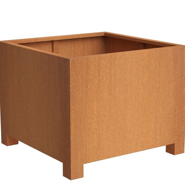 View Corten Square Planter with legs details