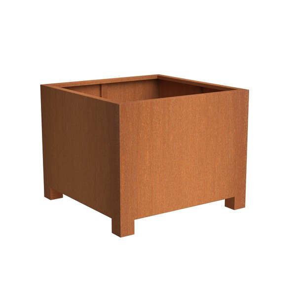 View Corten Cube Planter with legs details